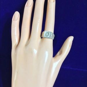 sterling silver initial ring (O) sz 6.5